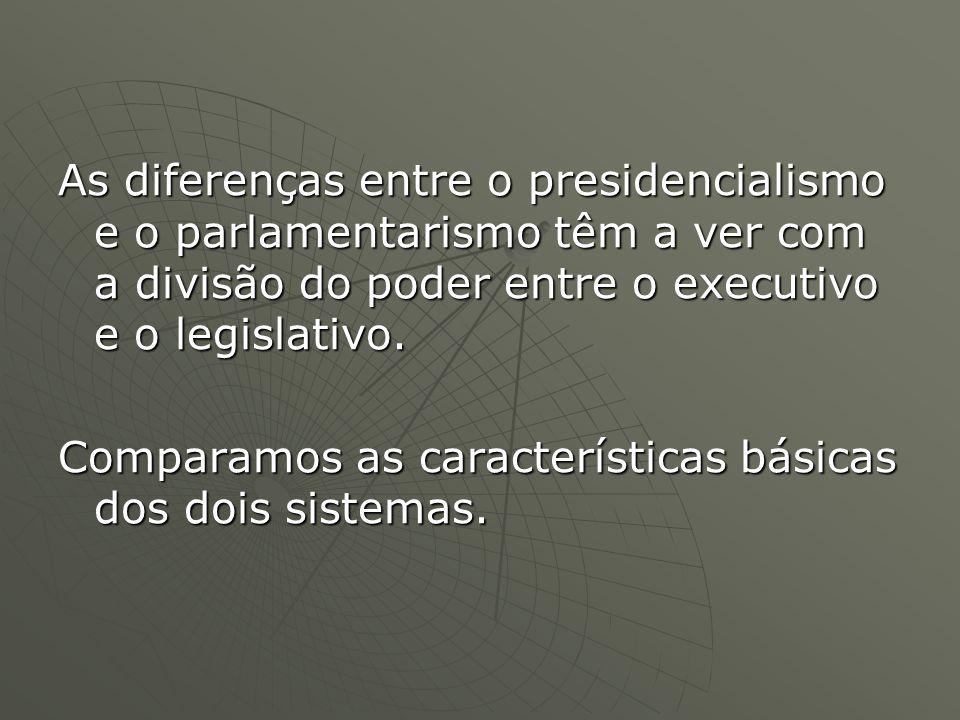 As diferenças entre o presidencialismo e o parlamentarismo têm a ver com a divisão do poder entre o executivo e o legislativo.