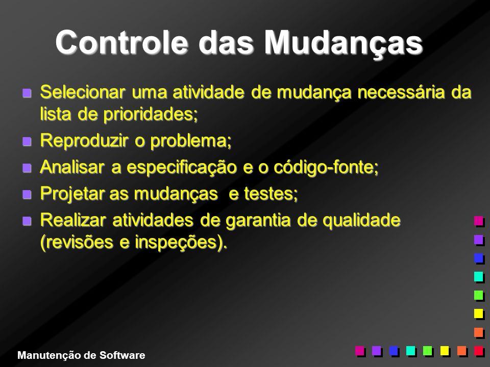 Controle das Mudanças Selecionar uma atividade de mudança necessária da lista de prioridades; Reproduzir o problema;