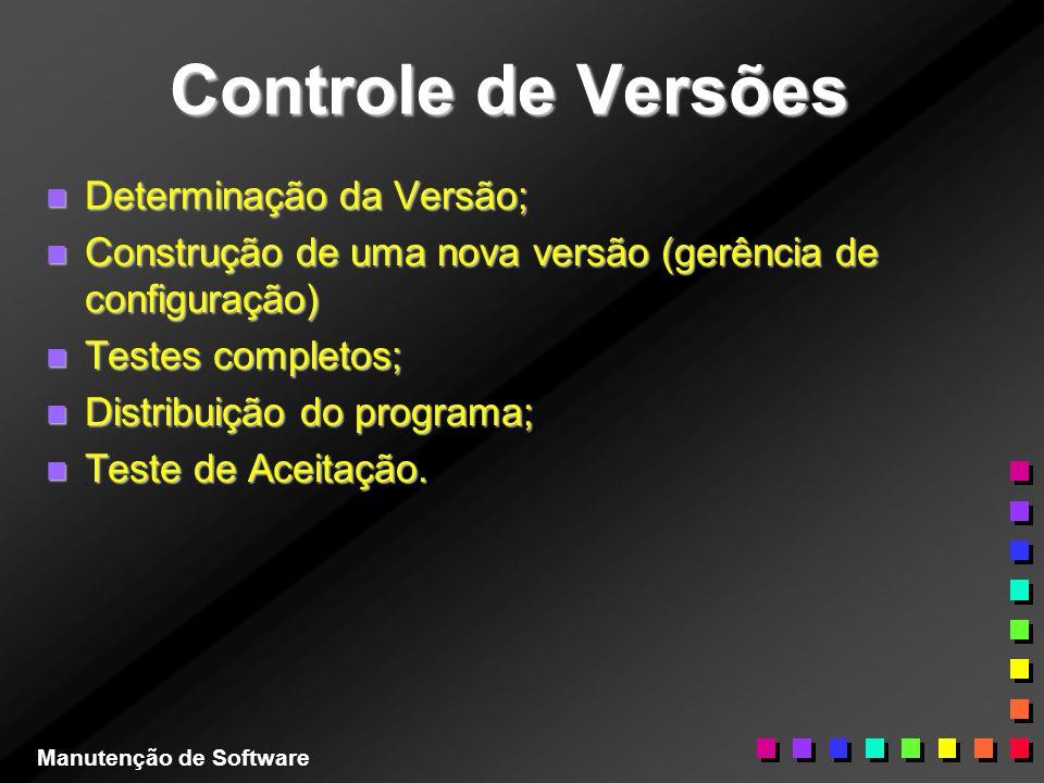 Controle de Versões Determinação da Versão;