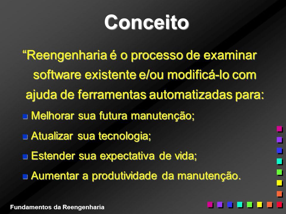 Conceito Reengenharia é o processo de examinar software existente e/ou modificá-lo com ajuda de ferramentas automatizadas para: