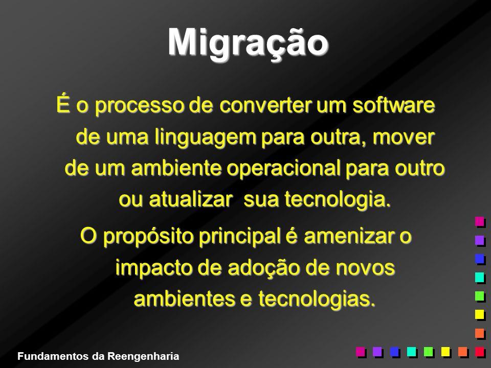 Migração É o processo de converter um software de uma linguagem para outra, mover de um ambiente operacional para outro ou atualizar sua tecnologia.