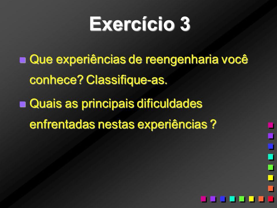 Exercício 3 Que experiências de reengenharia você conhece.
