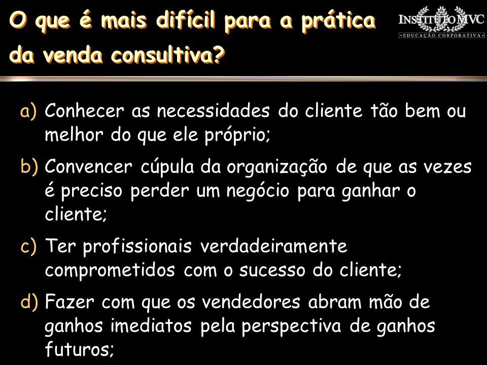 O que é mais difícil para a prática da venda consultiva