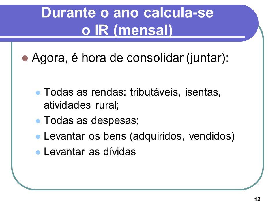 Durante o ano calcula-se o IR (mensal)