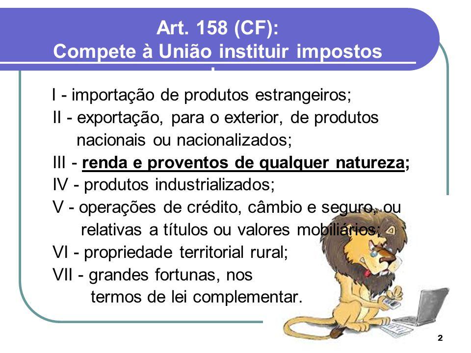 Art. 158 (CF): Compete à União instituir impostos sobre: