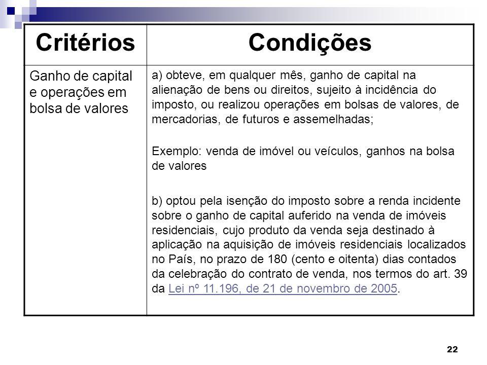 Critérios Condições Ganho de capital e operações em bolsa de valores