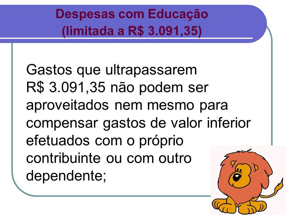 Despesas com Educação(limitada a R$ 3.091,35)