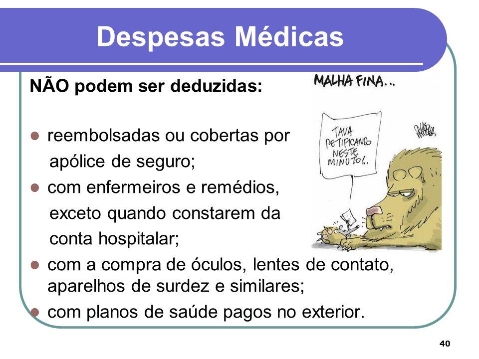 Despesas Médicas NÃO podem ser deduzidas: reembolsadas ou cobertas por