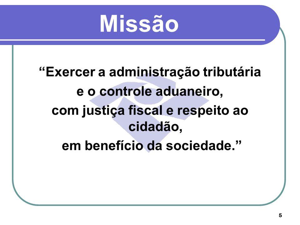 Missão Exercer a administração tributária e o controle aduaneiro,