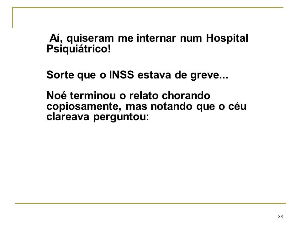 Aí, quiseram me internar num Hospital Psiquiátrico!