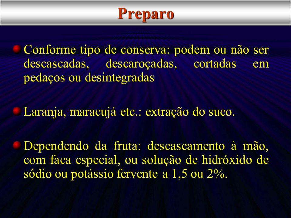 PreparoConforme tipo de conserva: podem ou não ser descascadas, descaroçadas, cortadas em pedaços ou desintegradas.