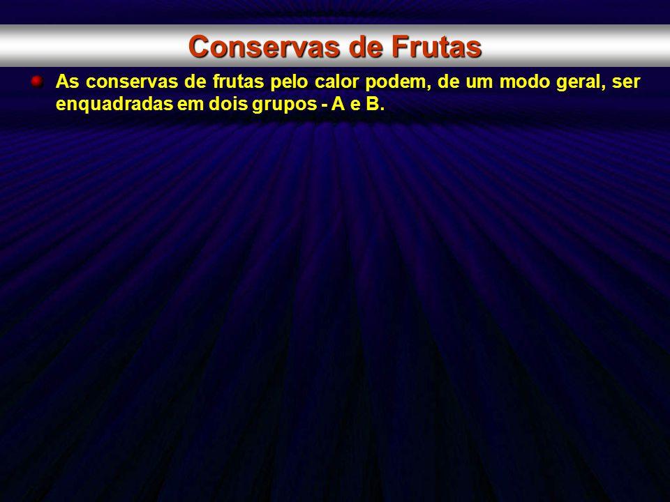 Conservas de FrutasAs conservas de frutas pelo calor podem, de um modo geral, ser enquadradas em dois grupos - A e B.