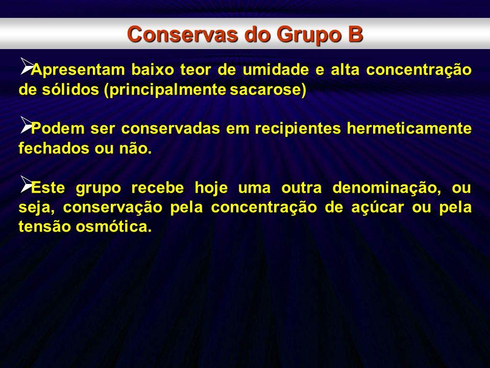 Conservas do Grupo B Apresentam baixo teor de umidade e alta concentração de sólidos (principalmente sacarose)