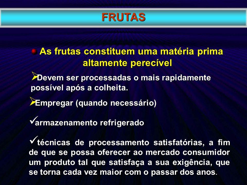 As frutas constituem uma matéria prima altamente perecível