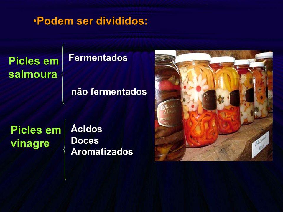Podem ser divididos: Picles em salmoura Picles em vinagre Fermentados