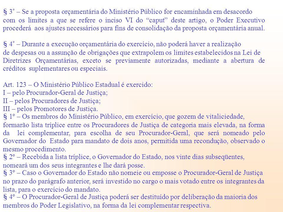 § 3° – Se a proposta orçamentária do Ministério Público for encaminhada em desacordo