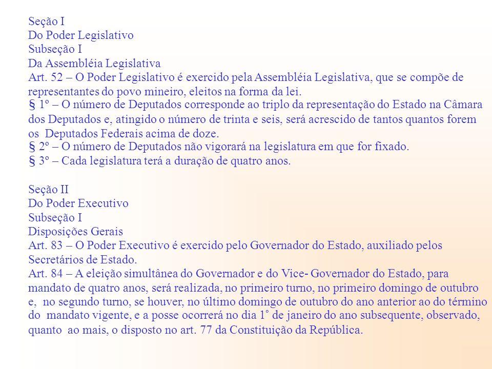 Seção I Do Poder Legislativo. Subseção I. Da Assembléia Legislativa.