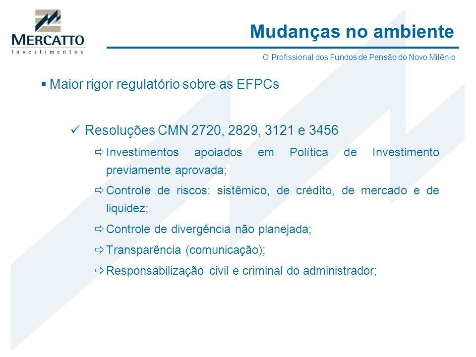 Mudanças no ambiente Maior rigor regulatório sobre as EFPCs