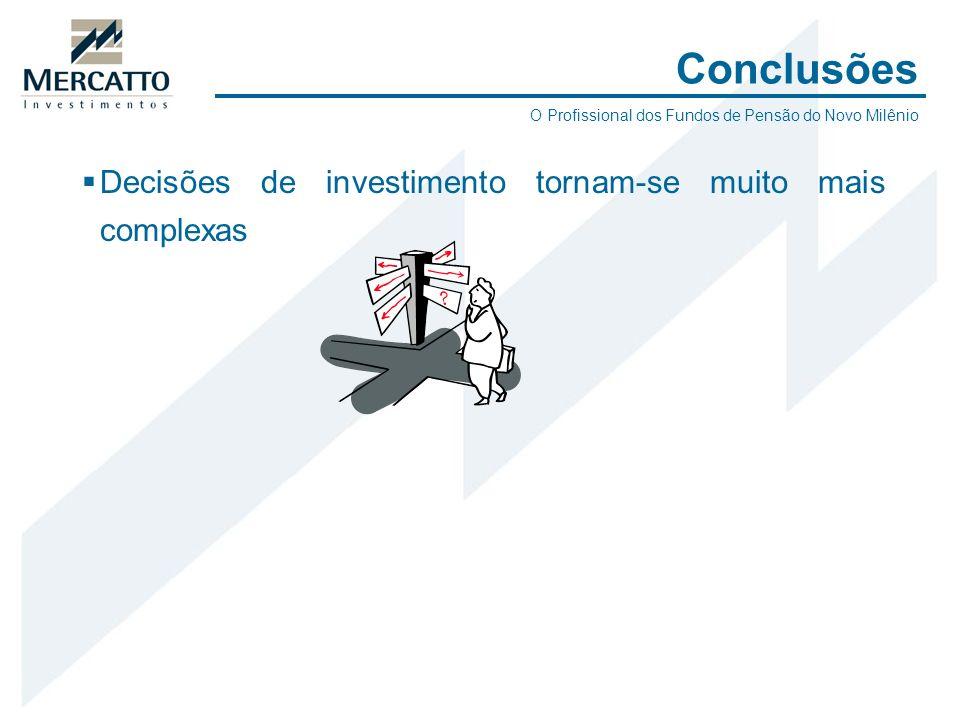 Conclusões Decisões de investimento tornam-se muito mais complexas