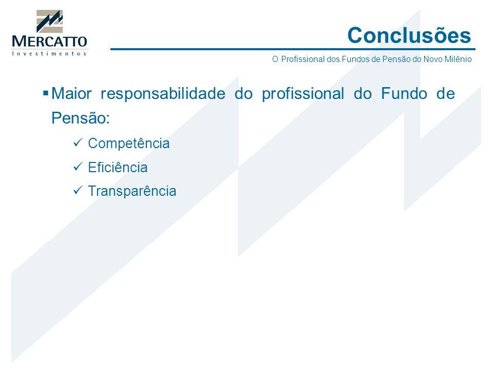 Conclusões Maior responsabilidade do profissional do Fundo de Pensão: