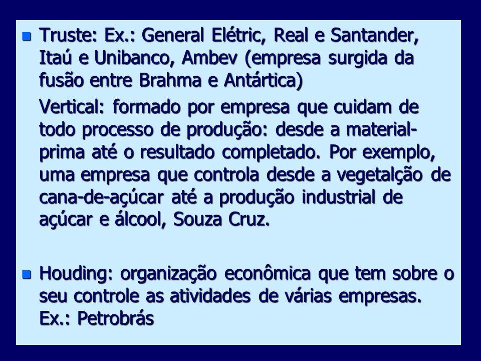 Truste: Ex.: General Elétric, Real e Santander, Itaú e Unibanco, Ambev (empresa surgida da fusão entre Brahma e Antártica)
