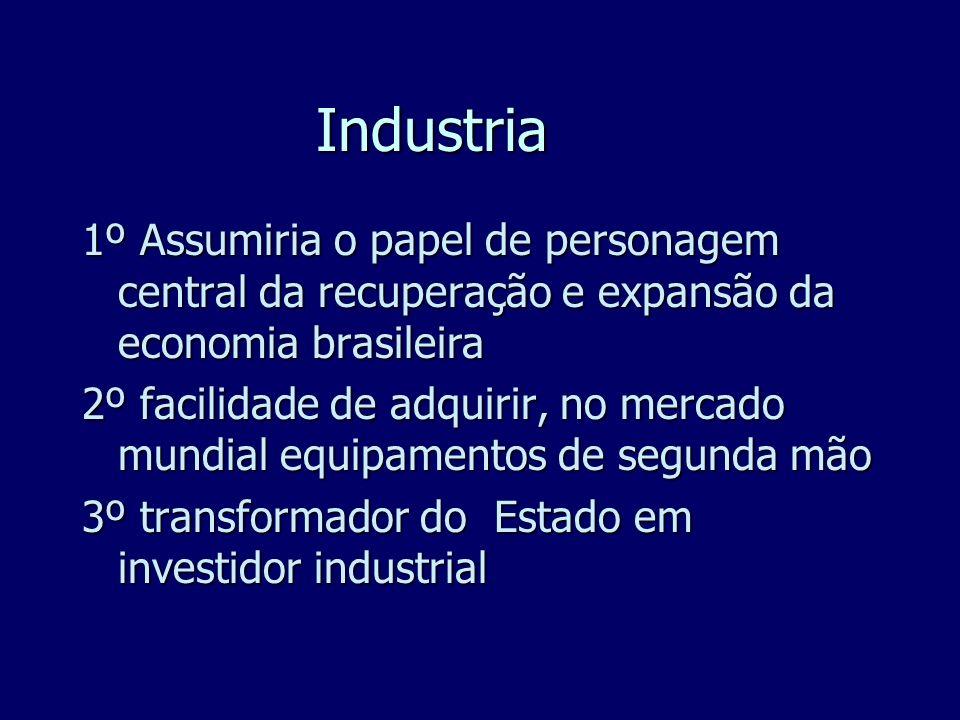 Industria1º Assumiria o papel de personagem central da recuperação e expansão da economia brasileira.