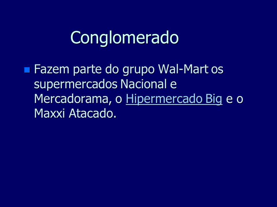 Conglomerado Fazem parte do grupo Wal-Mart os supermercados Nacional e Mercadorama, o Hipermercado Big e o Maxxi Atacado.