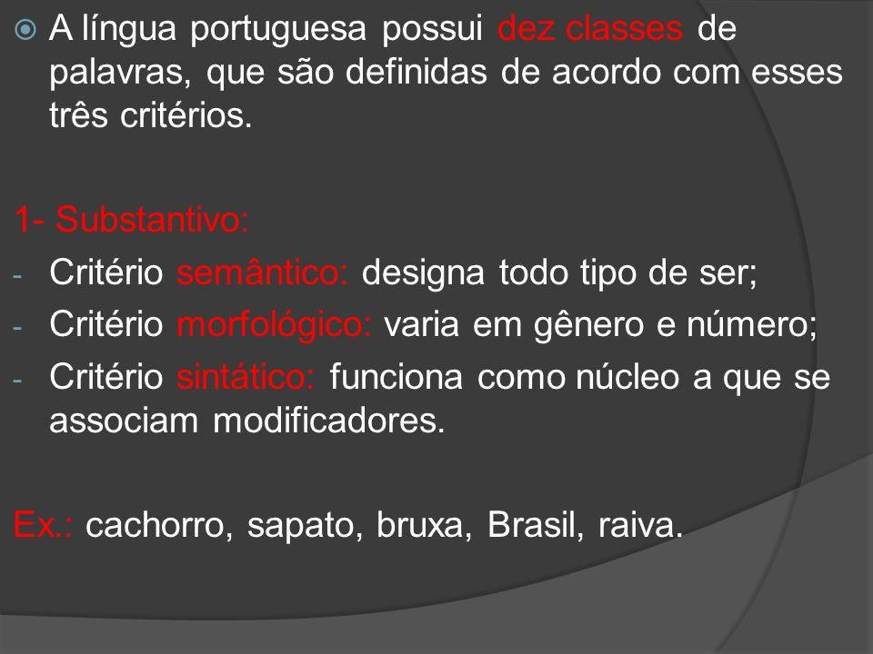 A língua portuguesa possui dez classes de palavras, que são definidas de acordo com esses três critérios.