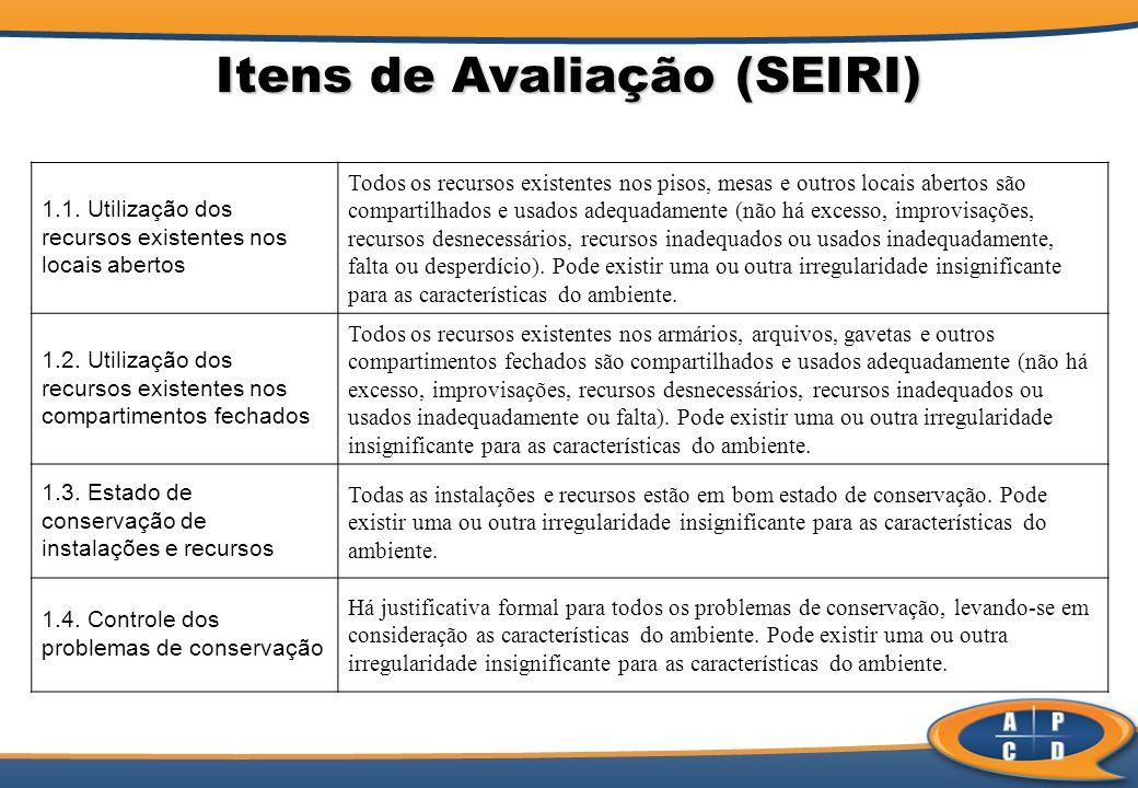 Itens de Avaliação (SEIRI)