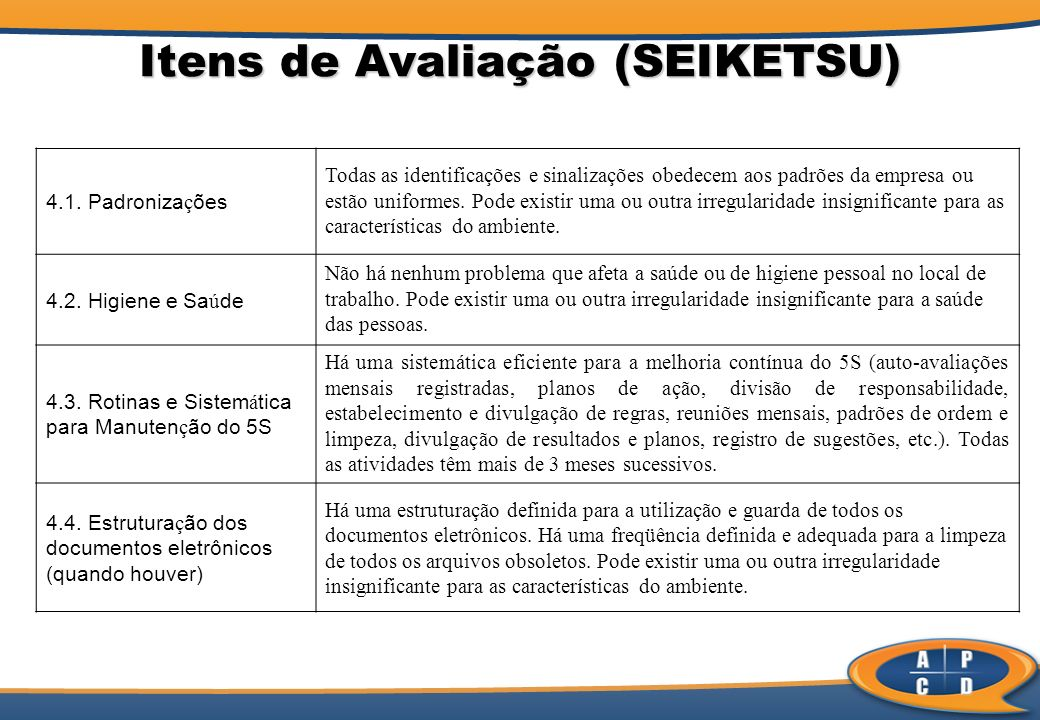 Itens de Avaliação (SEIKETSU)