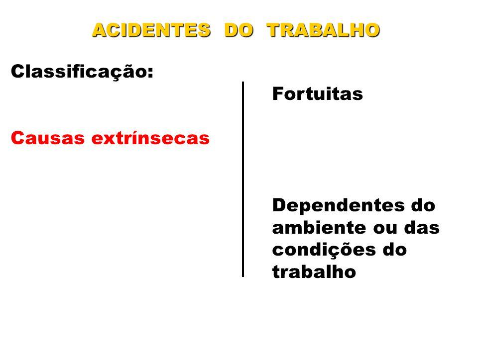 ACIDENTES DO TRABALHO Classificação: Fortuitas. Causas extrínsecas. Dependentes do. ambiente ou das.