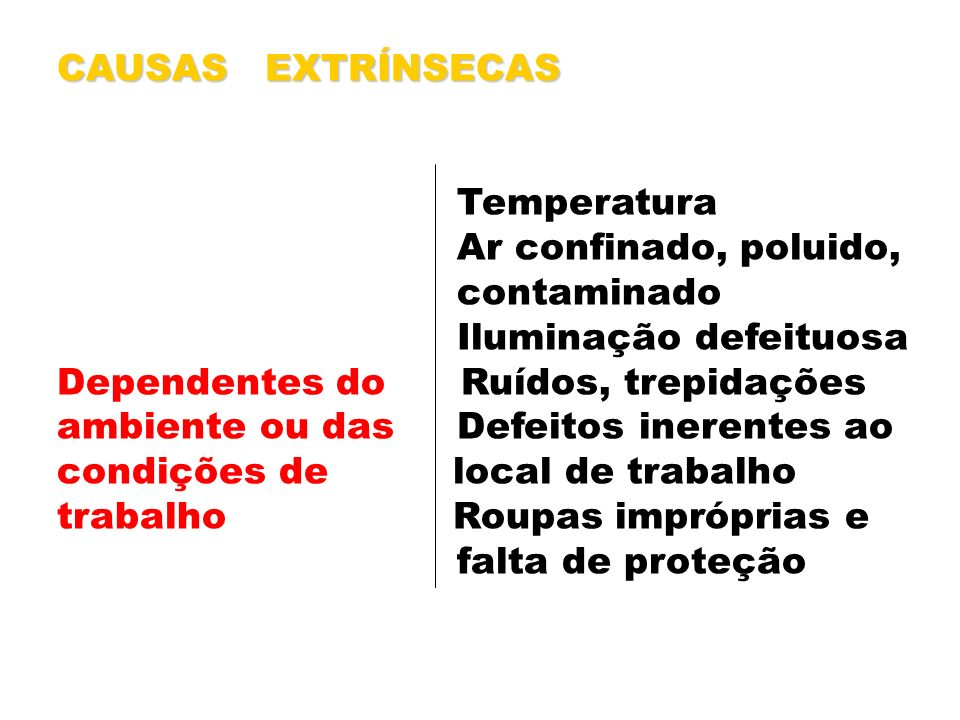 CAUSAS EXTRÍNSECAS Temperatura. Ar confinado, poluido, contaminado. Iluminação defeituosa. Dependentes do Ruídos, trepidações.