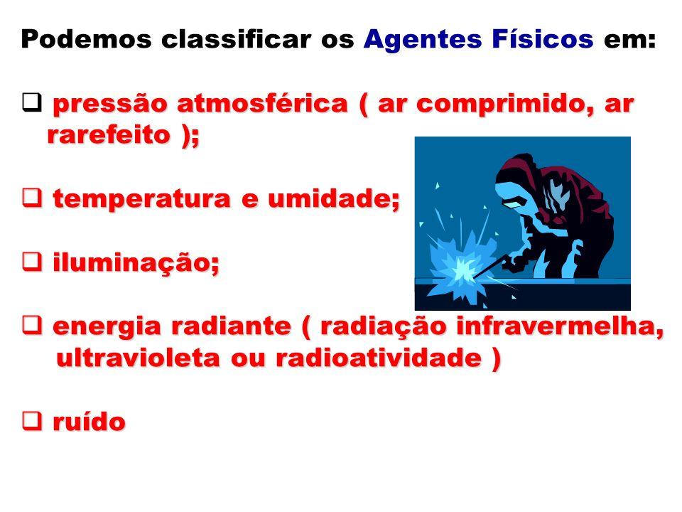 Podemos classificar os Agentes Físicos em: