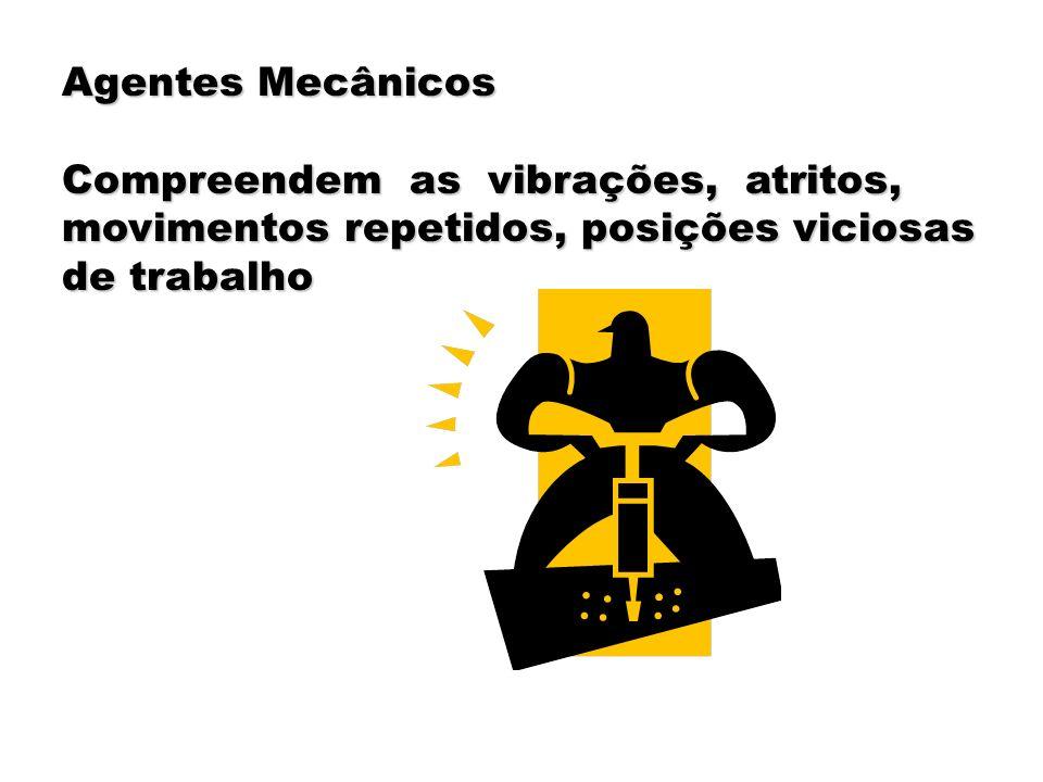 Agentes Mecânicos Compreendem as vibrações, atritos, movimentos repetidos, posições viciosas.