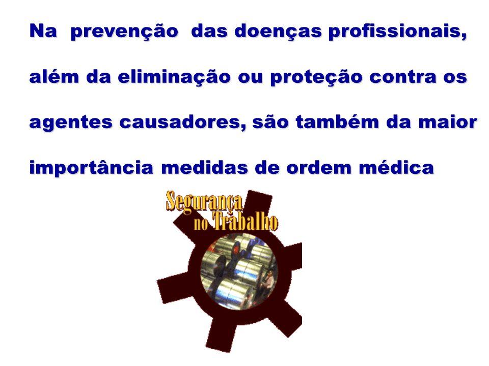 Na prevenção das doenças profissionais,