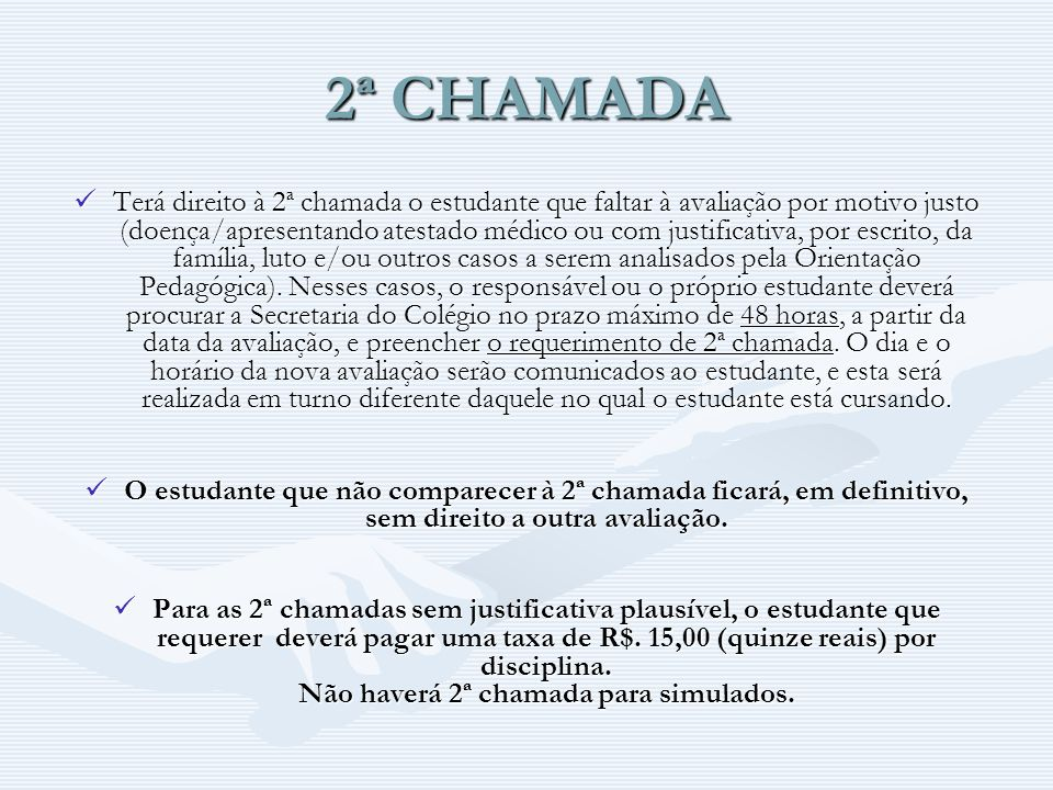 2ª CHAMADA