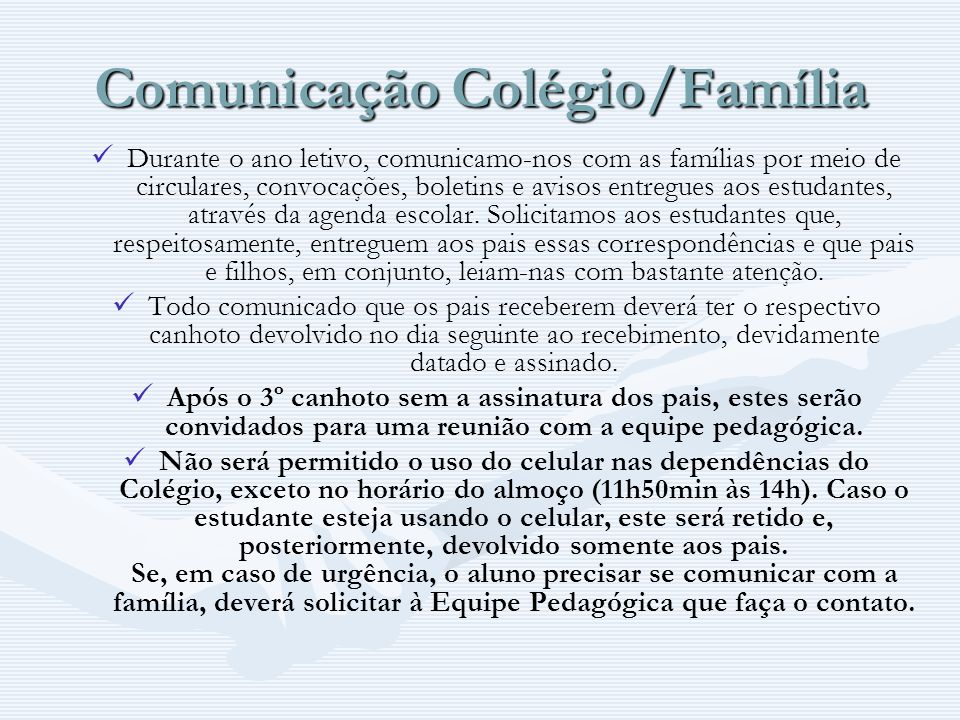 Comunicação Colégio/Família