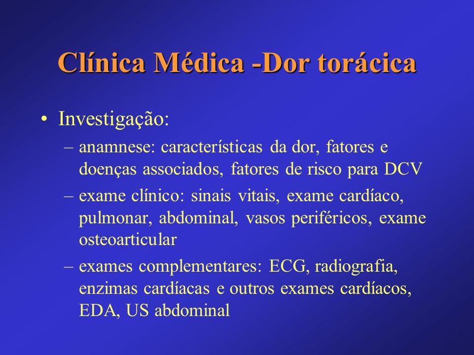 Clínica Médica -Dor torácica