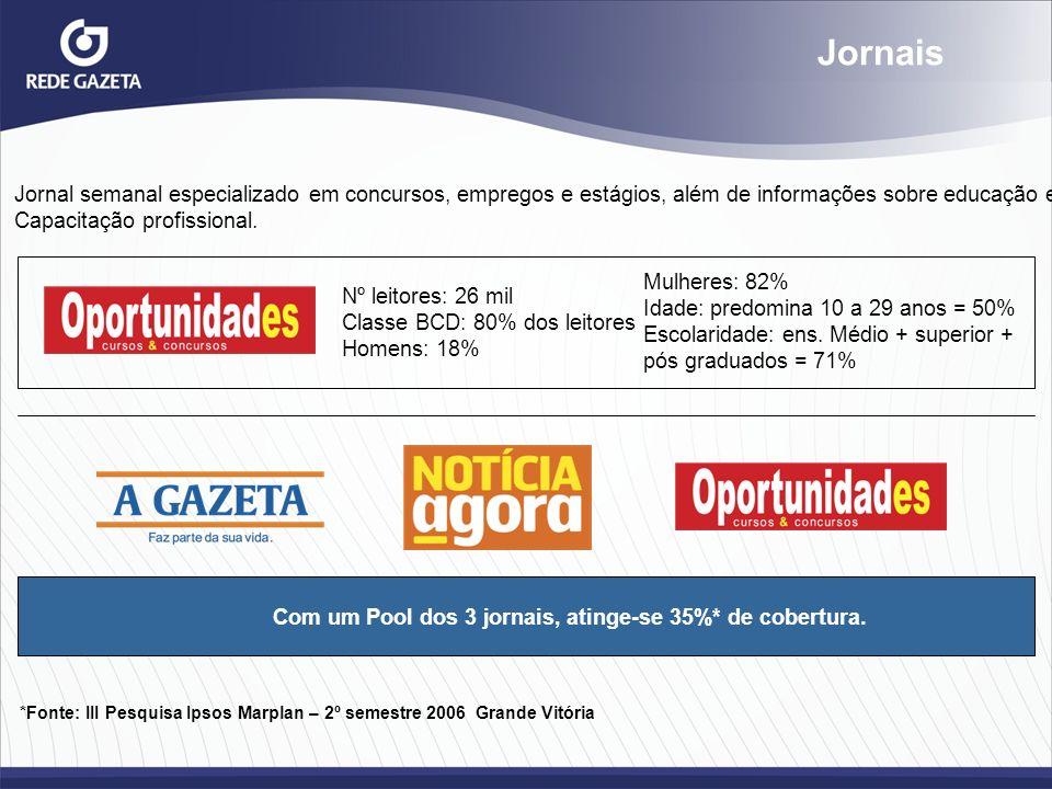 Jornais Jornal semanal especializado em concursos, empregos e estágios, além de informações sobre educação e.