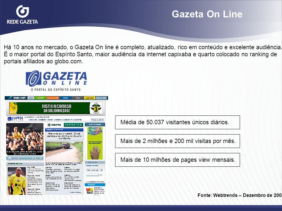 Gazeta On Line Há 10 anos no mercado, o Gazeta On line é completo, atualizado, rico em conteúdo e excelente audiência.