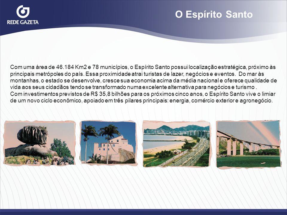 O Espírito Santo Com uma área de 46.184 Km2 e 78 municípios, o Espírito Santo possui localização estratégica, próximo às.