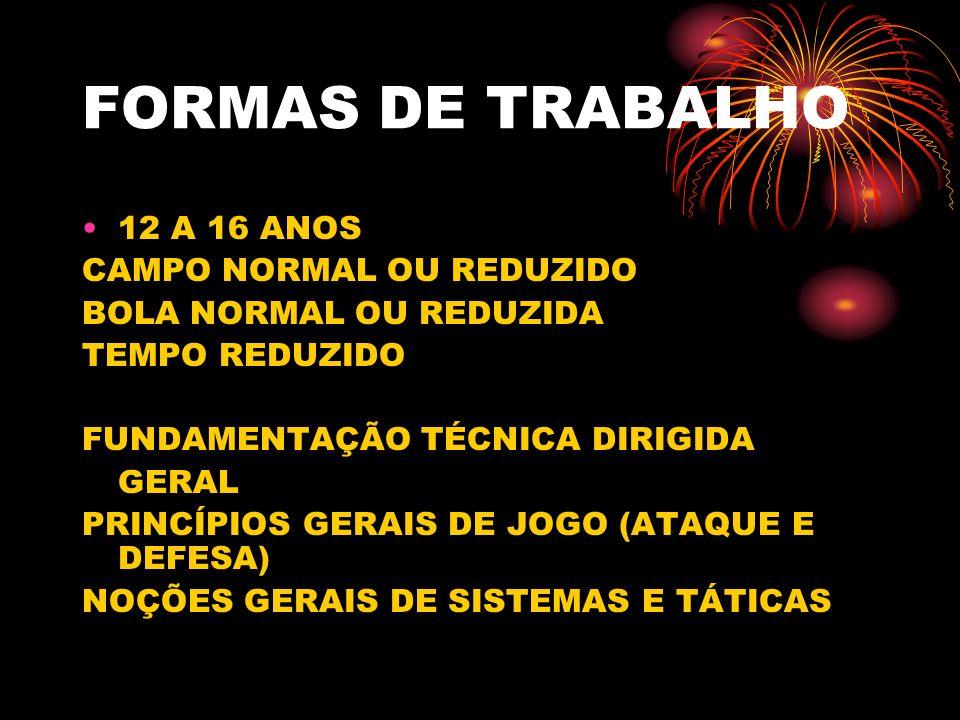 FORMAS DE TRABALHO 12 A 16 ANOS CAMPO NORMAL OU REDUZIDO