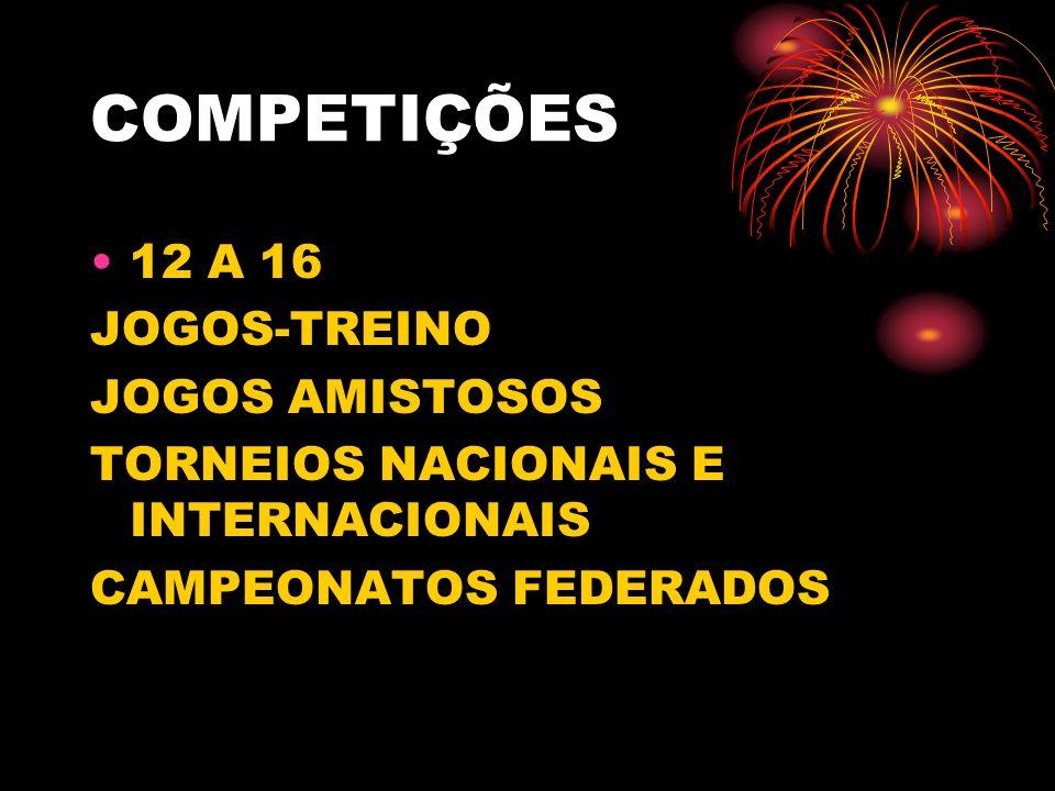 COMPETIÇÕES 12 A 16 JOGOS-TREINO JOGOS AMISTOSOS
