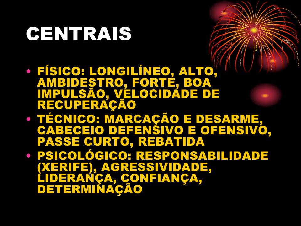 CENTRAIS FÍSICO: LONGILÍNEO, ALTO, AMBIDESTRO, FORTE, BOA IMPULSÃO, VELOCIDADE DE RECUPERAÇÃO.