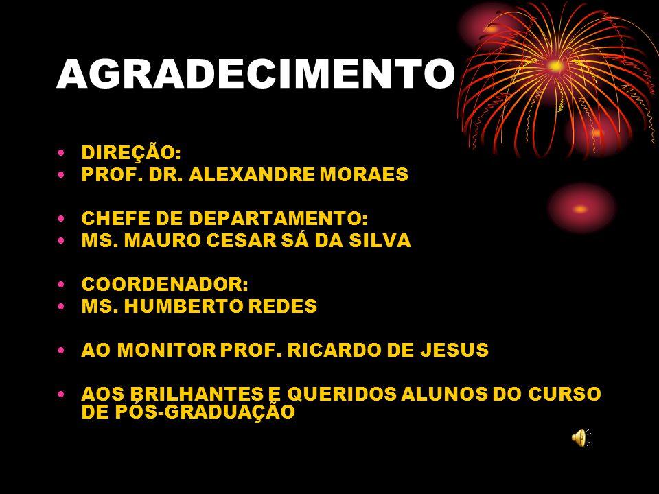 AGRADECIMENTO DIREÇÃO: PROF. DR. ALEXANDRE MORAES