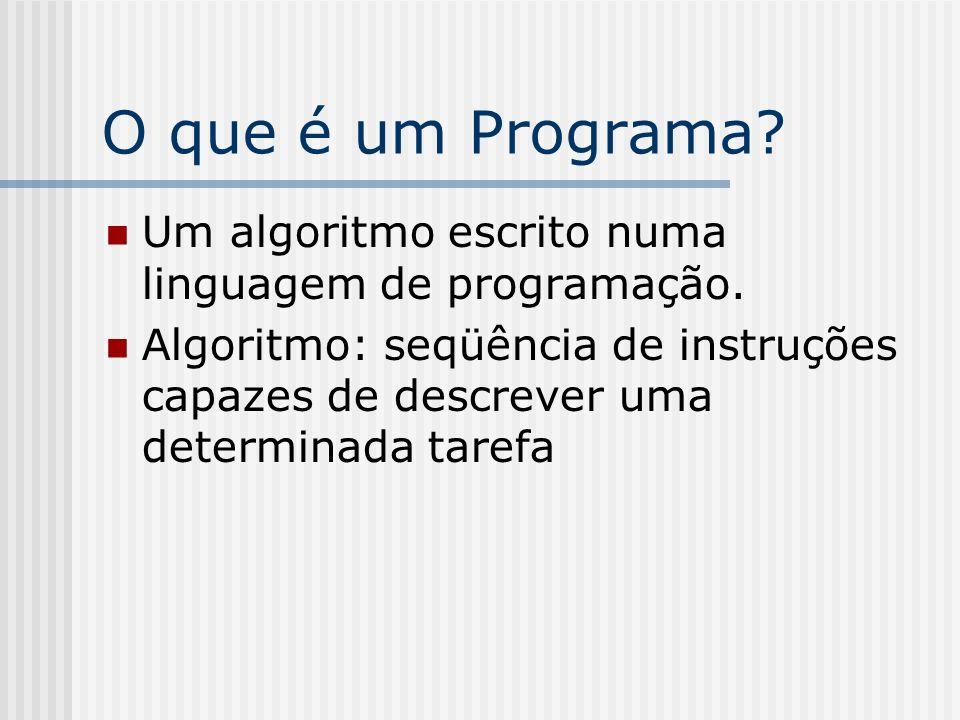 O que é um Programa Um algoritmo escrito numa linguagem de programação.