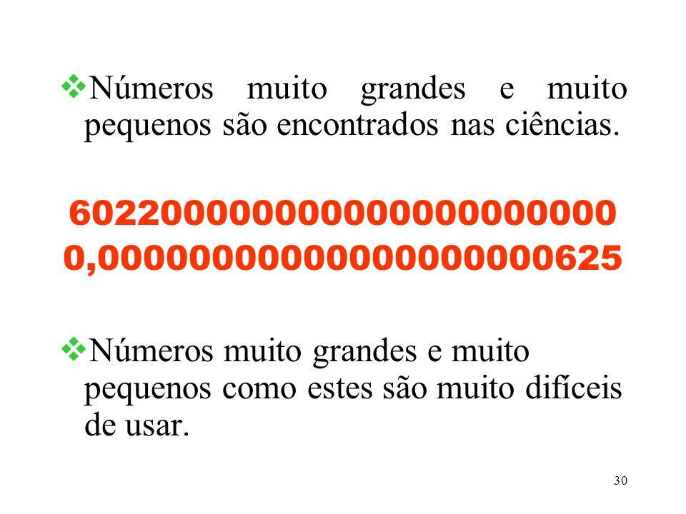 Números muito grandes e muito pequenos são encontrados nas ciências.