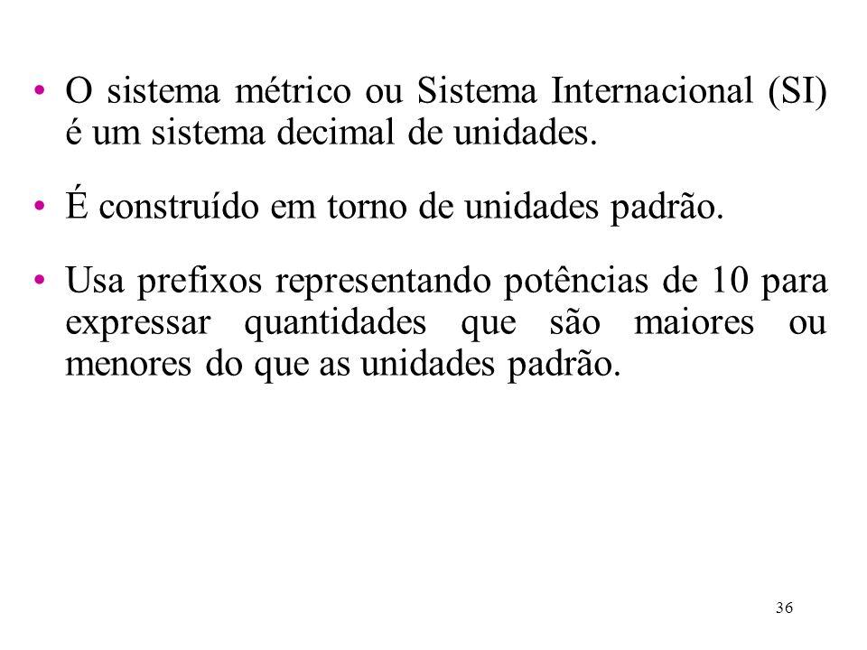 O sistema métrico ou Sistema Internacional (SI) é um sistema decimal de unidades.