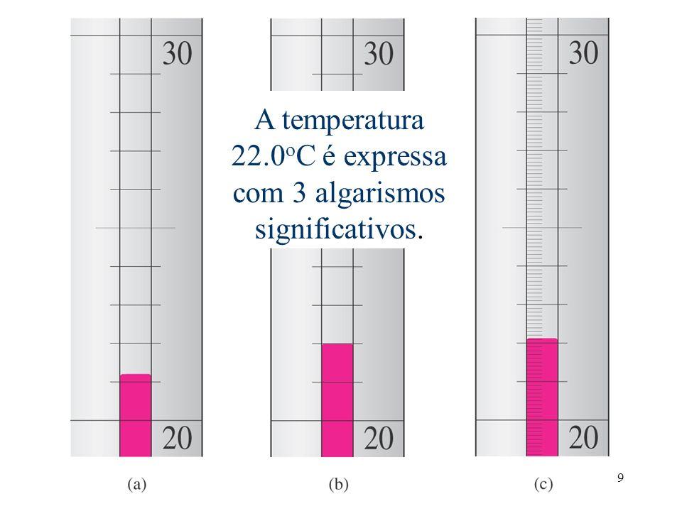 Temperatura é estimada como 22.0oC. O último 0 é incerto.