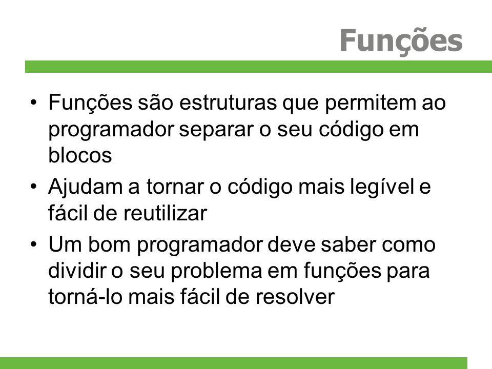 Funções Funções são estruturas que permitem ao programador separar o seu código em blocos.